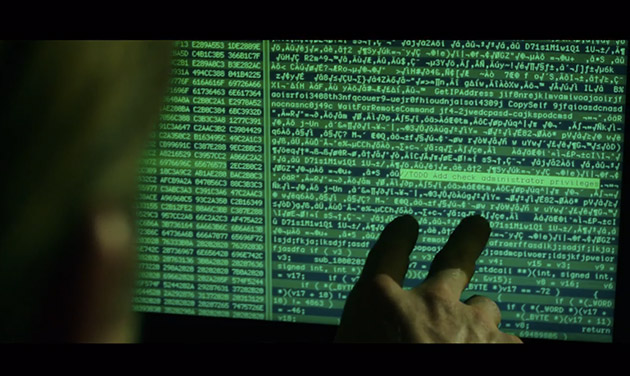 Screenshot of computer screen from Blackhat directed by Michael Mann starring Chris Hemsworth and Viola Davis
