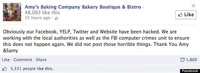 Amy S Restaurant Kitchen Nightmares meltdown on social media: amy's baking company meets kitchen