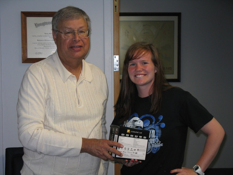 Natalie Massey and Dean of the Library, Wendell Barbour