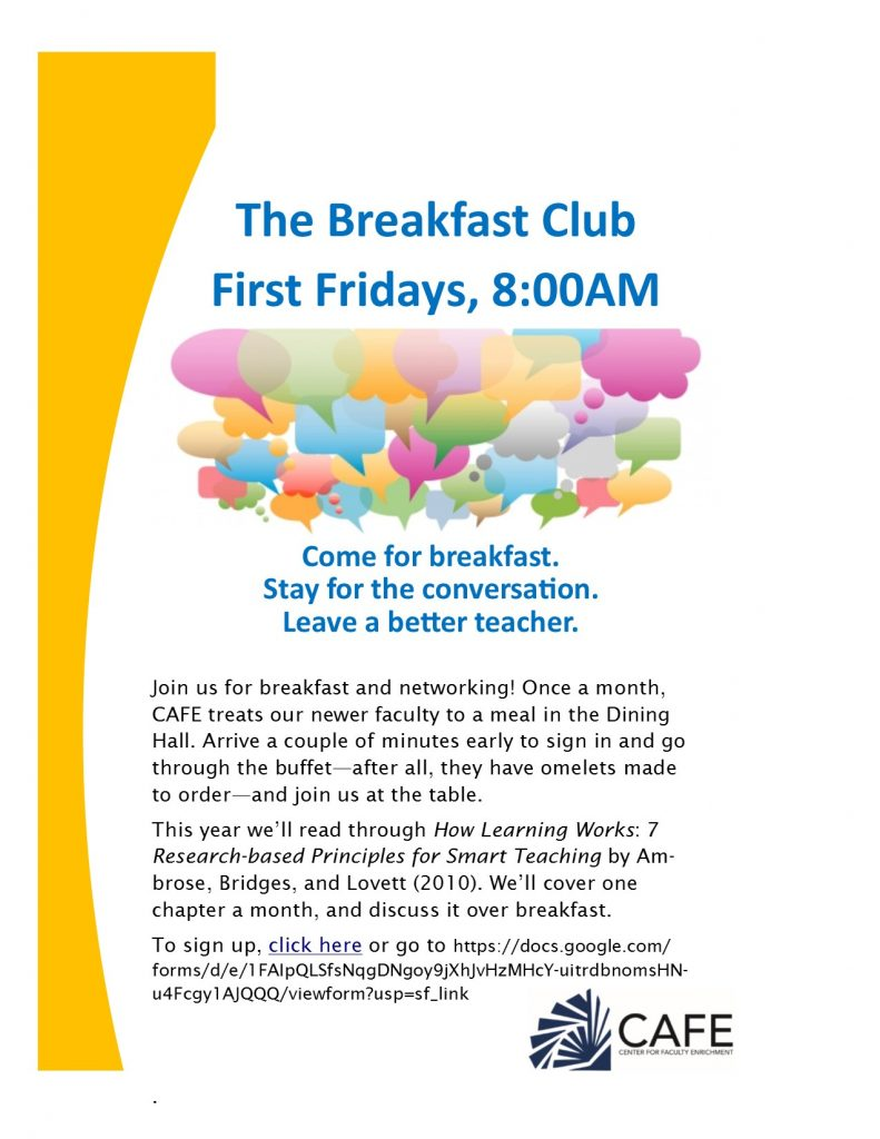 Breakfast Club Advert for 2017-2018