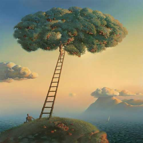 This surrealistic painting expresses how the world can be viewed and interpreted in many different ways. (http://crispyclicks.com/wp-content/uploads/2013/06/surreal-painting-surreal-art-Vladimir-Kush-8.jpg)