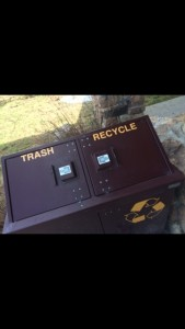 This picture is of a bear proof trashcan. This is used to help prevent bears, as well as other wildlife, from digging into the trash and becoming dependent on humans for food and resources. Using these types of trashcans help prevent bears from smelling the food as well and coming into the area, keeping bears away from humans.