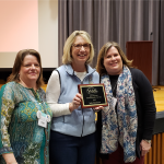 Judy Deichman, '10, (center) Nottoway Middle School librarian and VAASL James Region Librarian of the Year, with Dr. Karla Collins, Associate Professor of School Librarianship and VAASL James Region Director-elect (left), and Kendel Lively, 2018-2019 VAASL President (right).